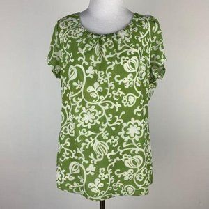 Ann Taylor top size XL Green white paisley career
